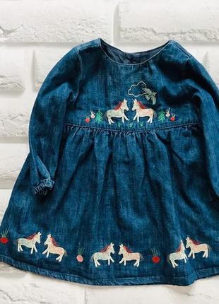 M&s  стильное джинсовое платье на девочку 6-9 мес