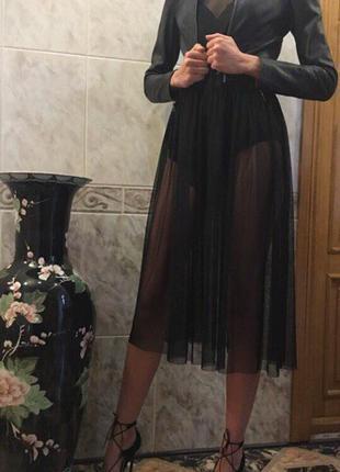 Платье длинное/миди/черное платье/сетка/платье в сеточку/накидка/фатин/туника