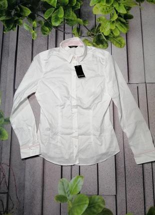 Офисная классическая рубашка белая приталенная