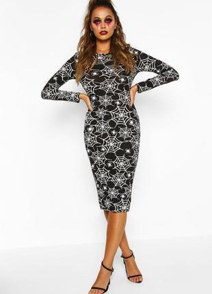 Boohoo.черное платье миди с принтом паутины на хэллоуин. 44-46 новое.