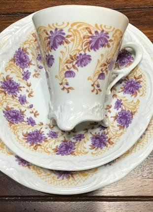 Чайный сервиз германия 🇩🇪 рельефный фарфор винтаж