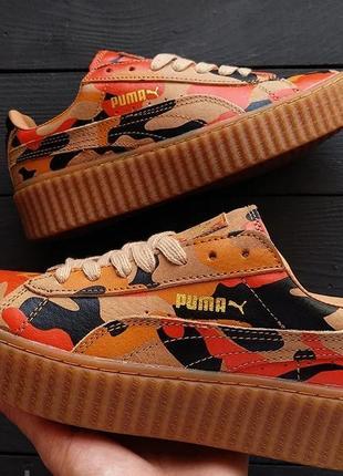 Кроссовки женские puma creepers camo rihanna оранжевые (пума криперс камо, кросівки)
