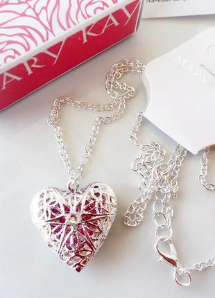 Кулон, подвеска, украшение сердце, покрытие серебром, мери кей, mary kay