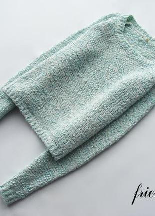 Трендовая укороченная мятная меланжевая вязаная кофта джемпер пуловер new look