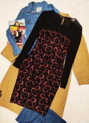 Платье красное чёрное миди комбинированное с сеточкой классическое joe browns