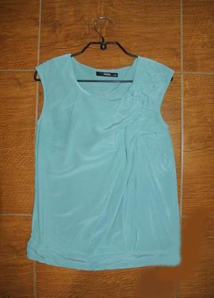 Oasis шикарна бырюзова блузка натуральний шовк xs-s