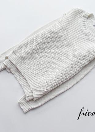Вязаная белая базовая кофта пуловер джемпер реглан gina tricot