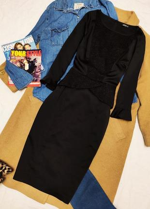 Fever платье чёрное атласное с баской классическое карандаш футляр