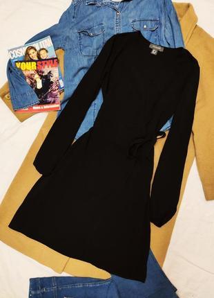 Primark чёрное платье рубашка с запахом с поясом лёгкое длинный рукав