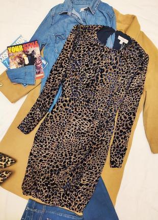 Платье синее бежевое животный принт леопардовое новое liena миди