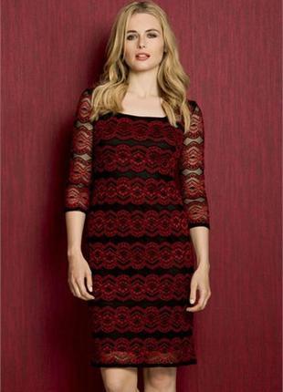 Платье красное чёрное гипюровое миди классическое нарядное карандаш футляр деловое roman