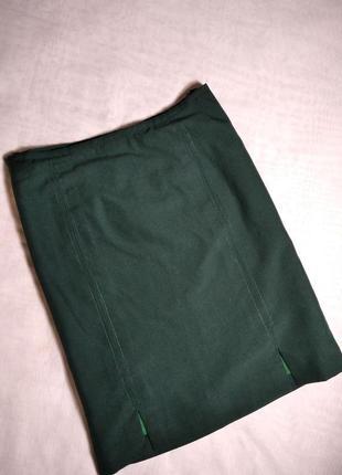 Юбка карандаш миди по фигуре темно - зеленого цвета hand made