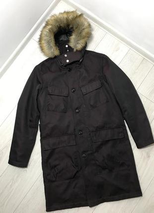 Парка zara на мєху з капішоном куртка lv