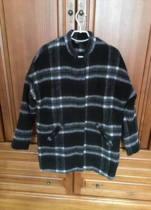 Стильное пальто шерсть принт клетка 52 54 размер большой