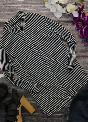 Красивая удлиненная блуза zara в узкую полоску