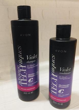Шампунь и бальзам avon advance techniques violet сияющий блонд