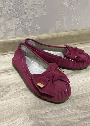 Лоферы туфли малиновые розовые с бантом эко замш