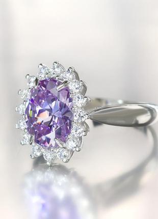 Серебряное кольцо с лавандовым камнем аризона, 18 размер