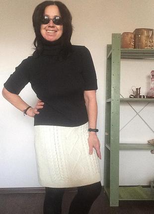 Молочная теплая вязанная юбка next