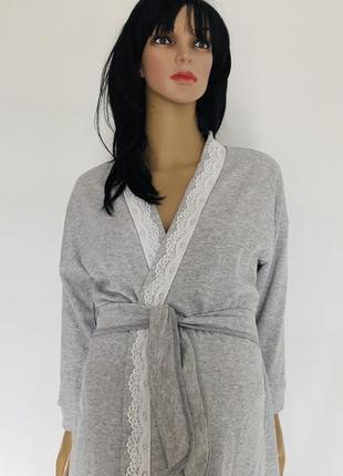 Комплект в роддом: утепленный халат и хб ночнушка для кормления