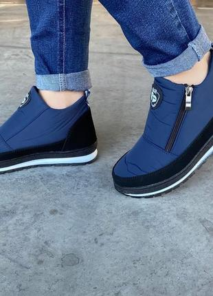 Ботинки женские зимние синие на молнию полномерки (бф-5сн)