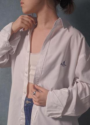 Белая хлопковая оверсайз рубашка