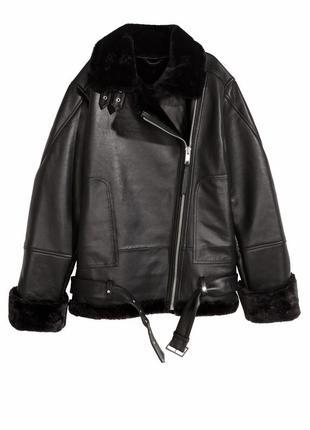 Куртка косуха авиатор кожаная дубленка h&m