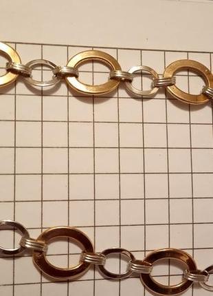 """Скидка! браслет """"колечки"""" из красного и белого золота 585 пробы"""
