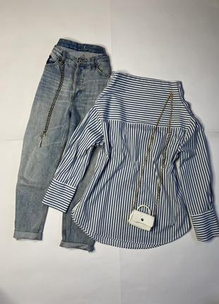 Крутая рубашка zara в полоску с оригинальной горловиной