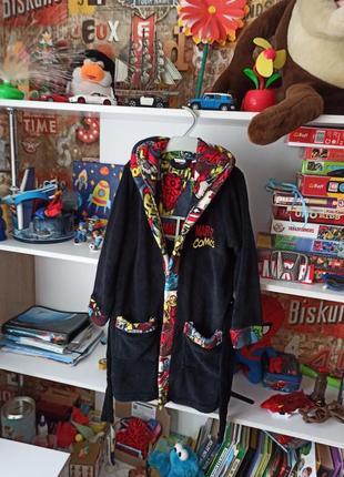 Тёплый халат marvel на 7-8 лет, 122-128 см