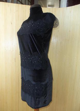 Французское чёрное вечернее/ коктейльное  велюровое платье с кружевом и вротником