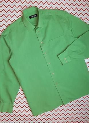 😉1+1=3 стильная зеленая рубашка сорочка с длинным рукавом maestro, размер 50 - 52