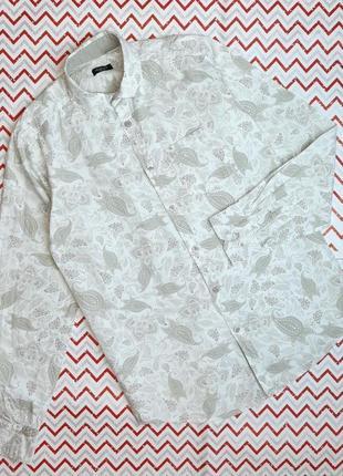 😉1+1=3 отличная белая мужская рубашка сорочка с пейсли redoute, размер 46 - 48