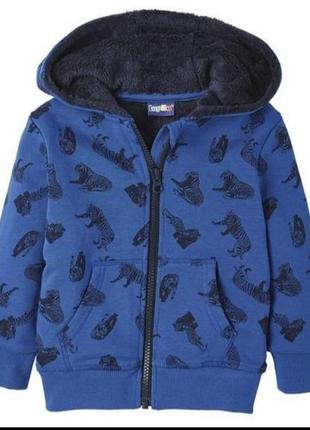 Теплая кофта- толстовка на меху, куртка весна 98/104