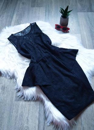 Черное платье с кружевом и баской 🤩