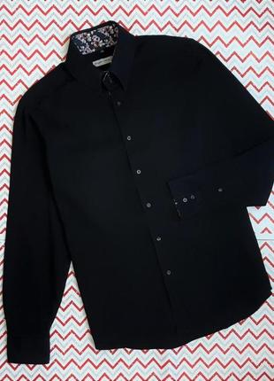 😉1+1=3 фирменная черная базовая приталенная рубашка сорочка angelo litrico, размер 48 - 50