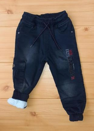 Теплые джинсы на махре для мальчика рр.98-140 beebaby (бибеби)