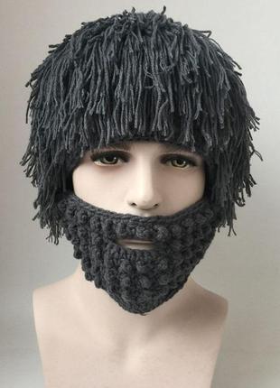 Шапка прикол. вязаная шапка с бородой волосатая шапка вязаная борода