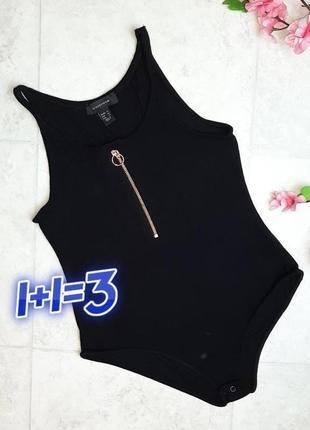 1+1=3 базовое черное боди бодік рубчик с монией спереди atmosphere, размер 46 - 48