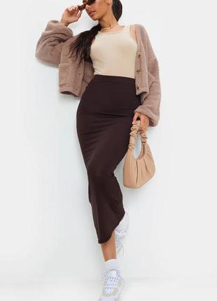 🌿 базовая, трикотажная юбка карандаш от prettylittlething