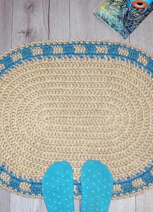 Мини коврик (50х70cм) из джута овальный