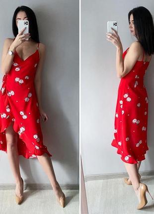 Платье миди в цветочный принт на запах h&m