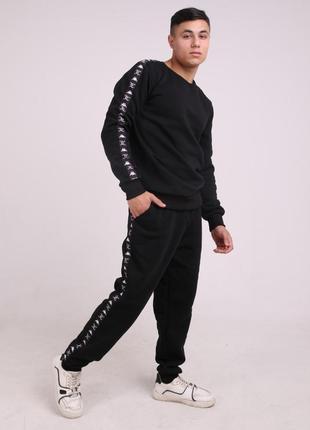 Штаны утеплённые чёрные с чёрно-белыми лампасами kappa x juicy
