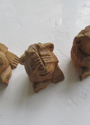 Статуэтки обезьян ничего не вижу не слышу не скажу дерево ручная работа