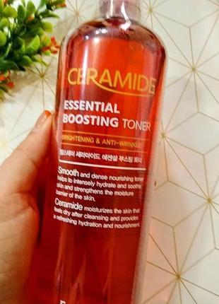 Тонер «2в1» с керамидами farmstay ceramide essential boosting toner - 500 мл