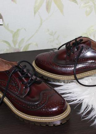 38 24см office girl натуральные кожаные туфли броги