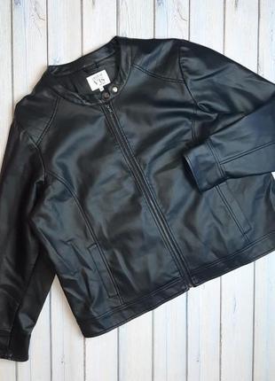 💥1+1=3 отличная женская кожаная куртка косуха кожанка vrs, размер 56 - 58