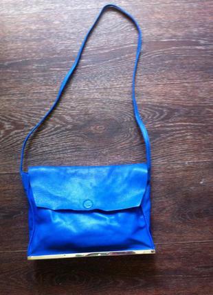 Фирменная кожанная сумка zara, синего цвета