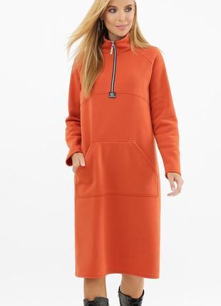 Платье женское миди с начесом, повседневное теплое худи