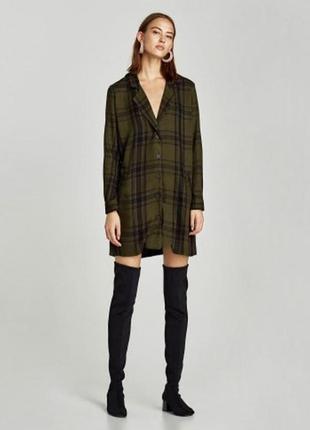 Платье рубашка туника пиджак в клетку zara